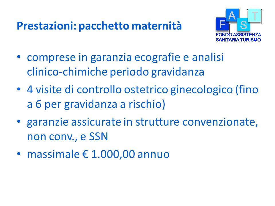 Prestazioni: pacchetto maternità comprese in garanzia ecografie e analisi clinico-chimiche periodo gravidanza 4 visite di controllo ostetrico ginecolo