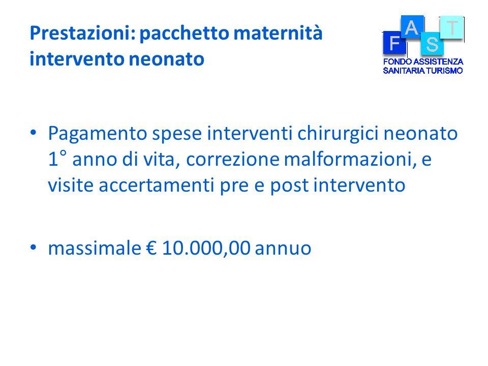 Prestazioni: pacchetto maternità intervento neonato Pagamento spese interventi chirurgici neonato 1° anno di vita, correzione malformazioni, e visite