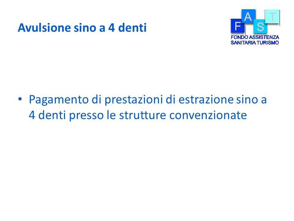 Avulsione sino a 4 denti Pagamento di prestazioni di estrazione sino a 4 denti presso le strutture convenzionate