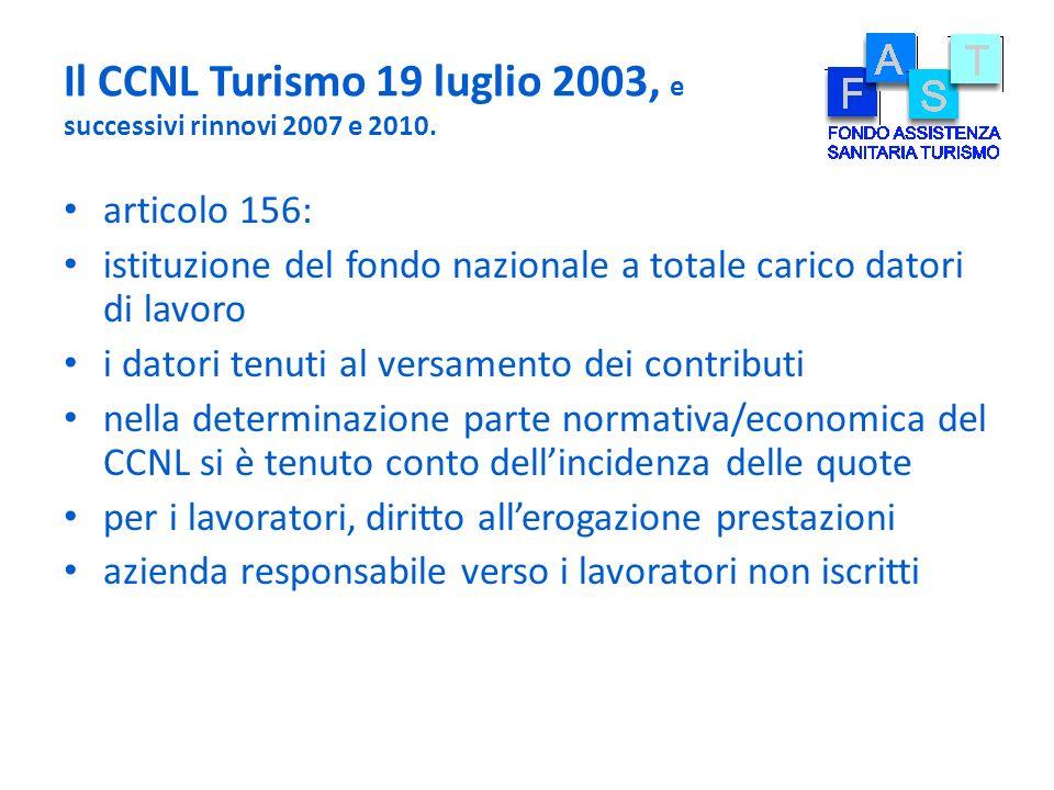Il CCNL Turismo 19 luglio 2003, e successivi rinnovi 2007 e 2010. articolo 156: istituzione del fondo nazionale a totale carico datori di lavoro i dat