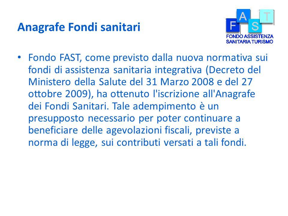Anagrafe Fondi sanitari Fondo FAST, come previsto dalla nuova normativa sui fondi di assistenza sanitaria integrativa (Decreto del Ministero della Sal