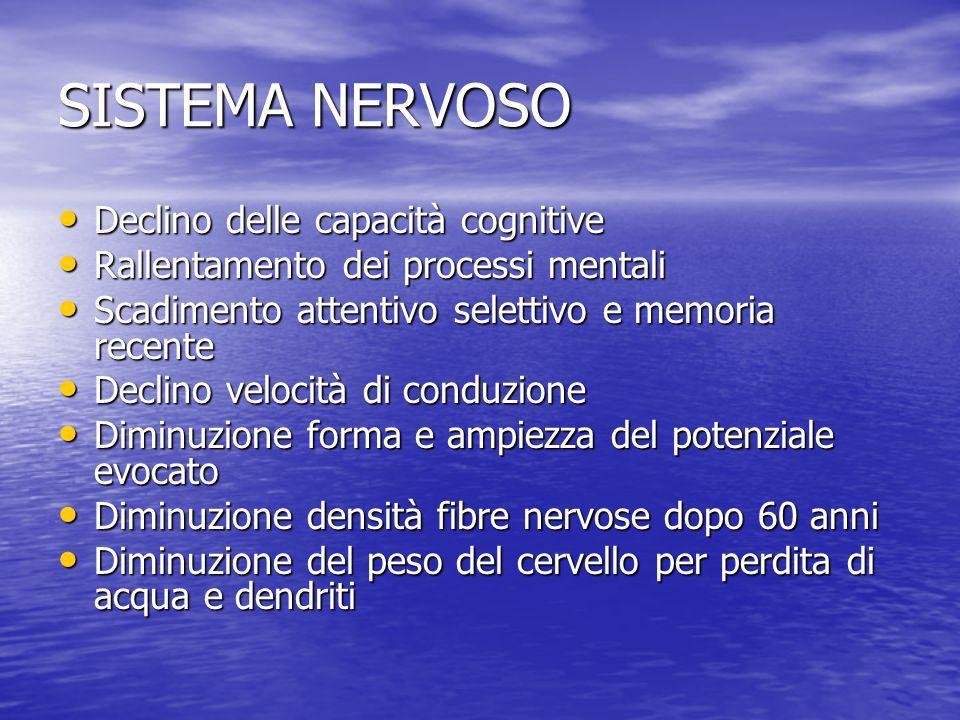 SISTEMA NERVOSO Declino delle capacità cognitive Declino delle capacità cognitive Rallentamento dei processi mentali Rallentamento dei processi mental