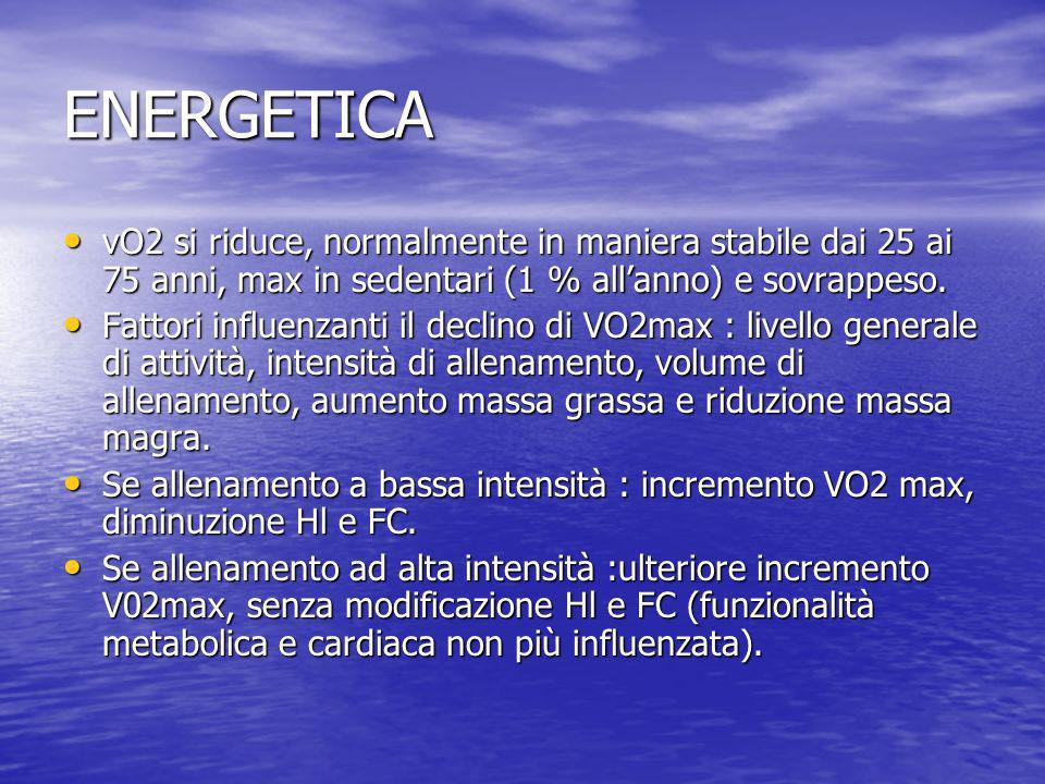 ENERGETICA vO2 si riduce, normalmente in maniera stabile dai 25 ai 75 anni, max in sedentari (1 % allanno) e sovrappeso. vO2 si riduce, normalmente in