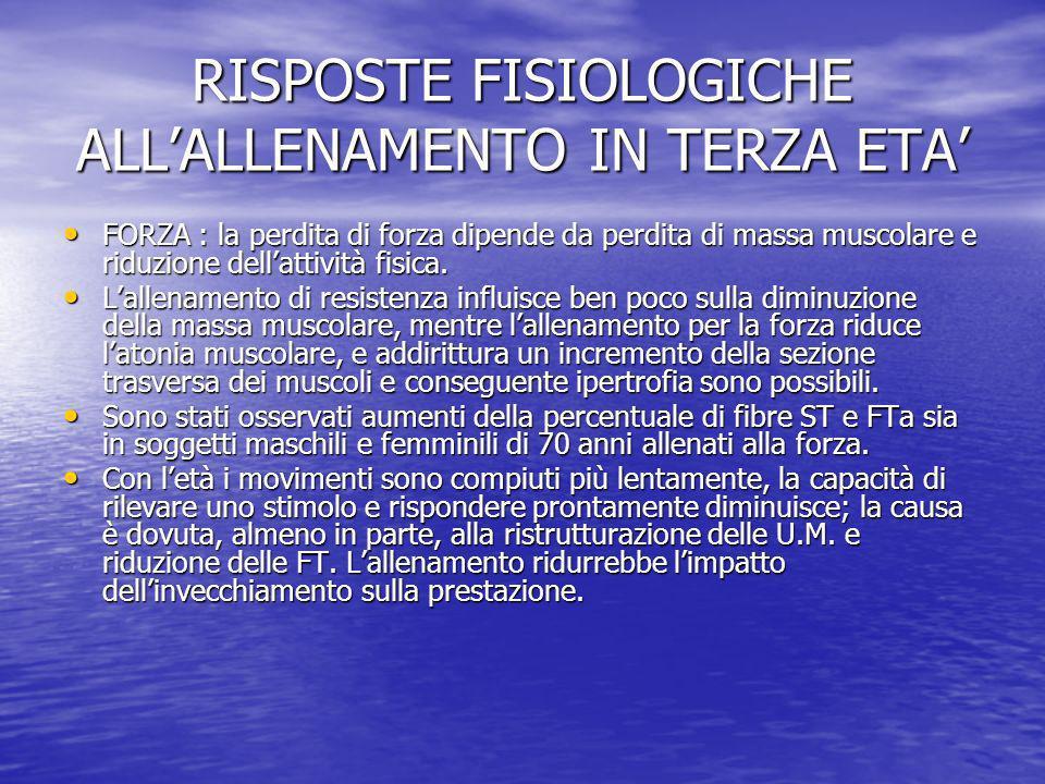 RISPOSTE FISIOLOGICHE ALLALLENAMENTO IN TERZA ETA FORZA : la perdita di forza dipende da perdita di massa muscolare e riduzione dellattività fisica. F