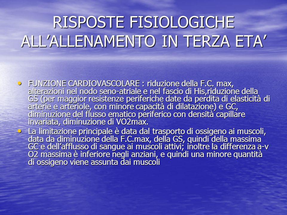 RISPOSTE FISIOLOGICHE ALLALLENAMENTO IN TERZA ETA FUNZIONE CARDIOVASCOLARE : riduzione della F.C. max, alterazioni nel nodo seno-atriale e nel fascio