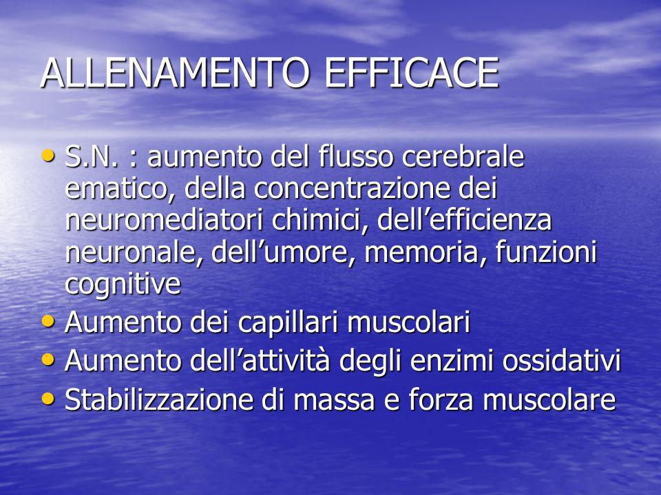 ALLENAMENTO EFFICACE S.N. : aumento del flusso cerebrale ematico, della concentrazione dei neuromediatori chimici, dellefficienza neuronale, dellumore