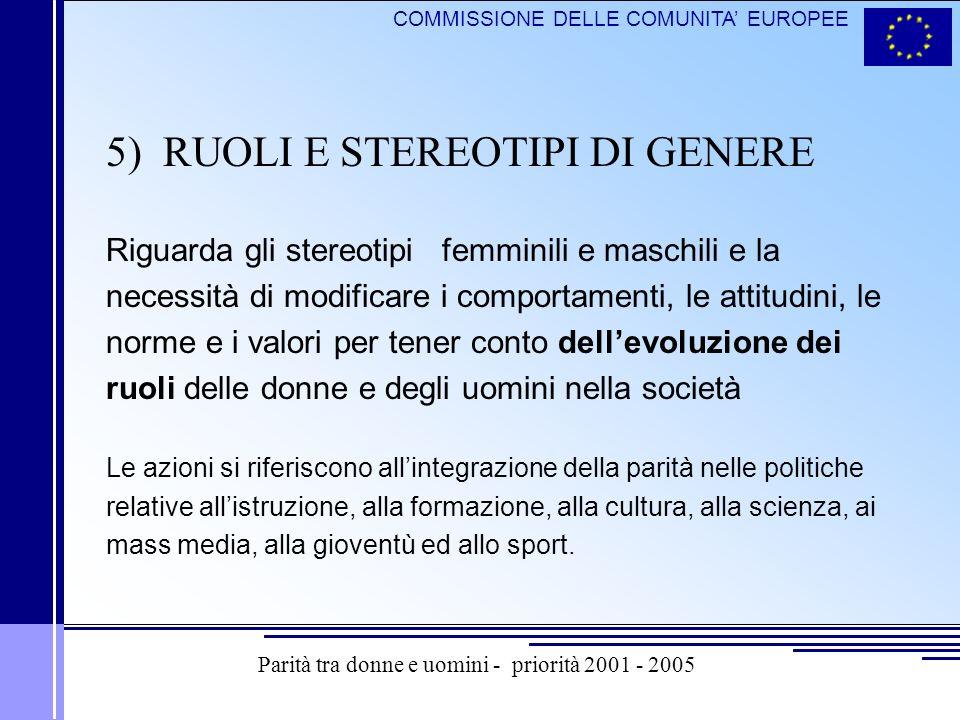COMMISSIONE DELLE COMUNITA EUROPEE 5) RUOLI E STEREOTIPI DI GENERE Riguarda gli stereotipi femminili e maschili e la necessità di modificare i comport
