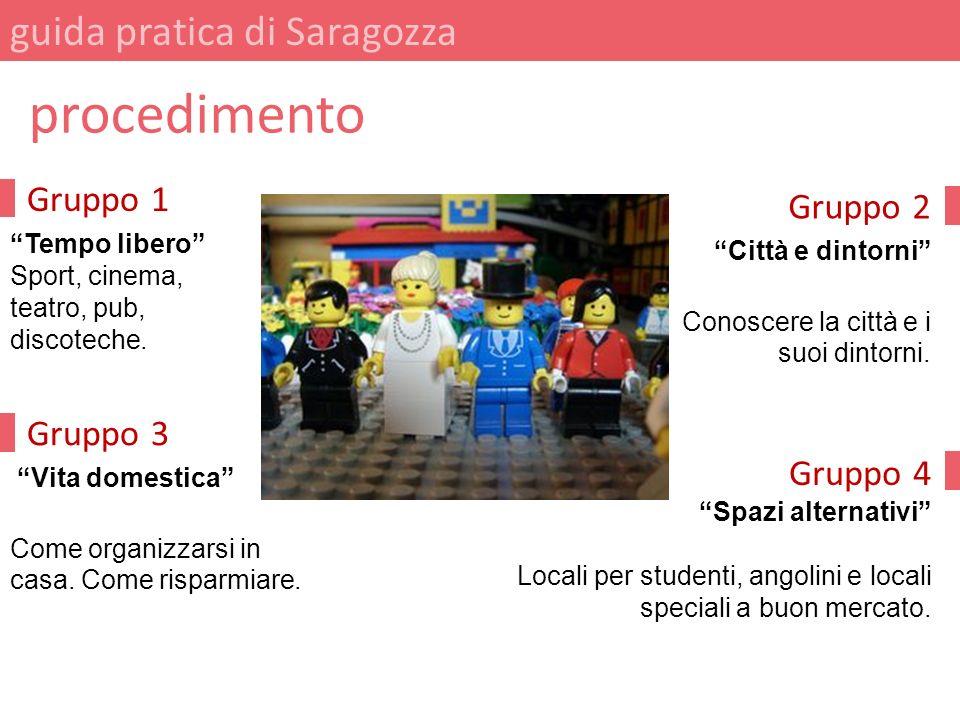 Gruppo 2 Città e dintorni Conoscere la città e i suoi dintorni. guida pratica di Saragozza procedimento Gruppo 1 Tempo libero Sport, cinema, teatro, p