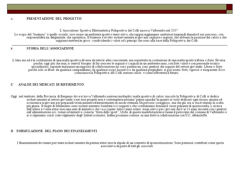 A. PRESENTAZIONE DEL PROGETTO LAssocizione Sportiva Dilettantistica Polisportiva dei Colli nasce a Valbrembo nel 2007 Lo scopo del business è quello s