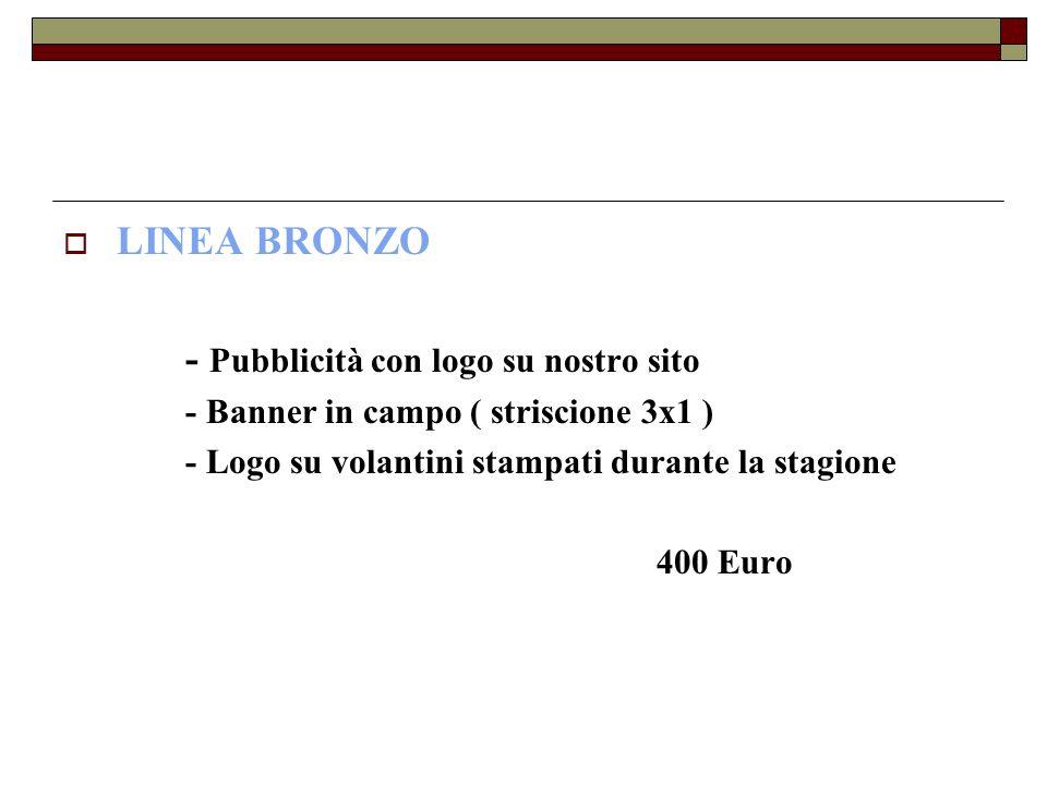 LINEA BRONZO - Pubblicità con logo su nostro sito - Banner in campo ( striscione 3x1 ) - Logo su volantini stampati durante la stagione 400 Euro