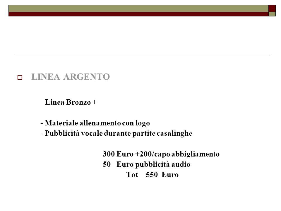 LINEA ARGENTO Linea Bronzo + - Materiale allenamento con logo - Pubblicità vocale durante partite casalinghe 300 Euro +200/capo abbigliamento 50 Euro