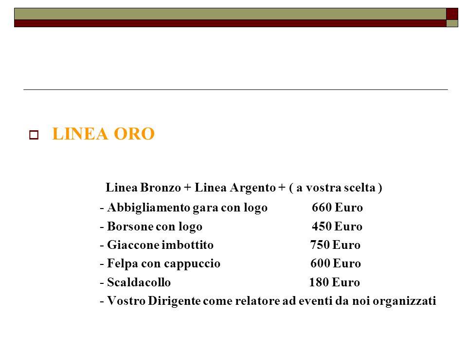 LINEA ORO Linea Bronzo + Linea Argento + ( a vostra scelta ) - Abbigliamento gara con logo 660 Euro - Borsone con logo 450 Euro - Giaccone imbottito 7