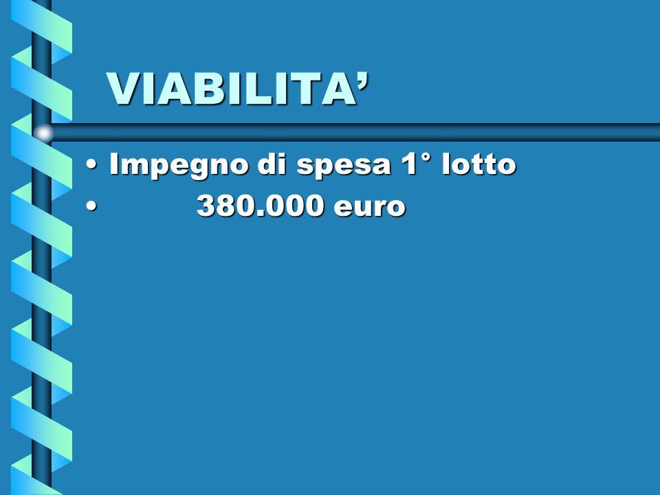 VIABILITA Impegno di spesa 1° lottoImpegno di spesa 1° lotto 380.000 euro 380.000 euro
