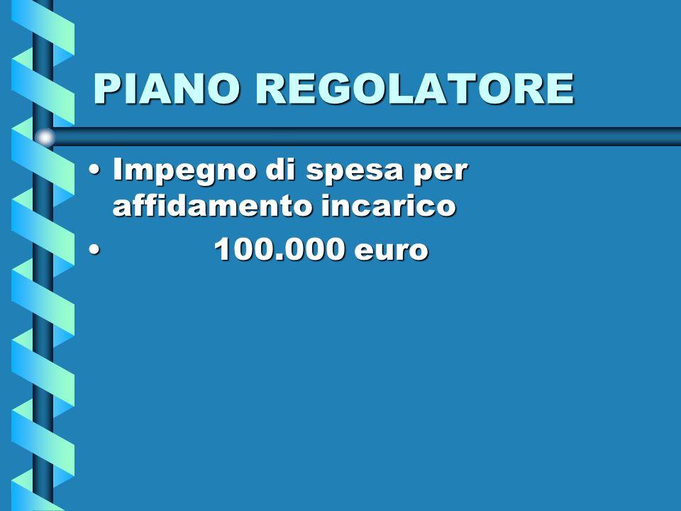 PIANO REGOLATORE Impegno di spesa per affidamento incaricoImpegno di spesa per affidamento incarico 100.000 euro 100.000 euro