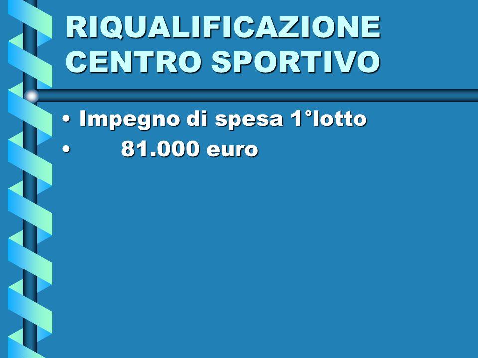 RIQUALIFICAZIONE CENTRO SPORTIVO Impegno di spesa 1°lottoImpegno di spesa 1°lotto 81.000 euro 81.000 euro