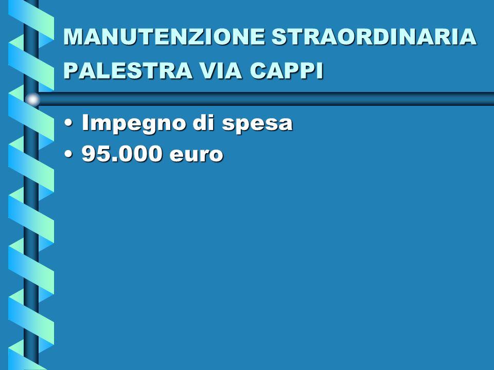 MANUTENZIONE STRAORDINARIA PALESTRA VIA CAPPI Impegno di spesaImpegno di spesa 95.000 euro95.000 euro