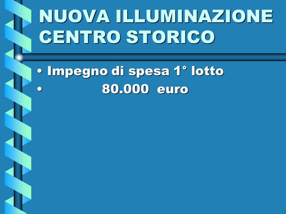 NUOVA ILLUMINAZIONE CENTRO STORICO Impegno di spesa 1° lottoImpegno di spesa 1° lotto 80.000 euro 80.000 euro