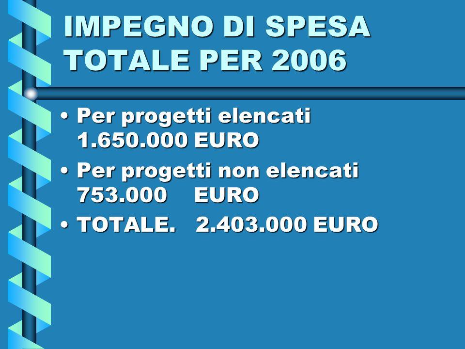 IMPEGNO DI SPESA TOTALE PER 2006 Per progetti elencati 1.650.000 EUROPer progetti elencati 1.650.000 EURO Per progetti non elencati 753.000 EUROPer progetti non elencati 753.000 EURO TOTALE.