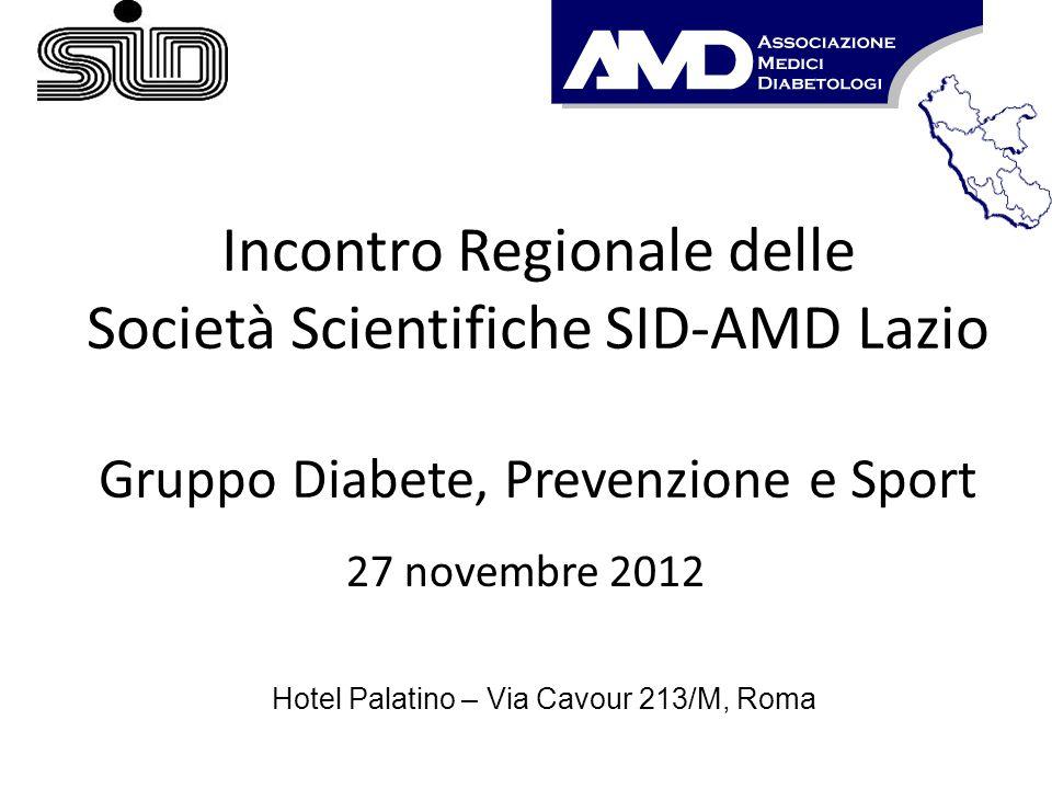Incontro Regionale delle Società Scientifiche SID-AMD Lazio Gruppo Diabete, Prevenzione e Sport 27 novembre 2012 Hotel Palatino – Via Cavour 213/M, Ro