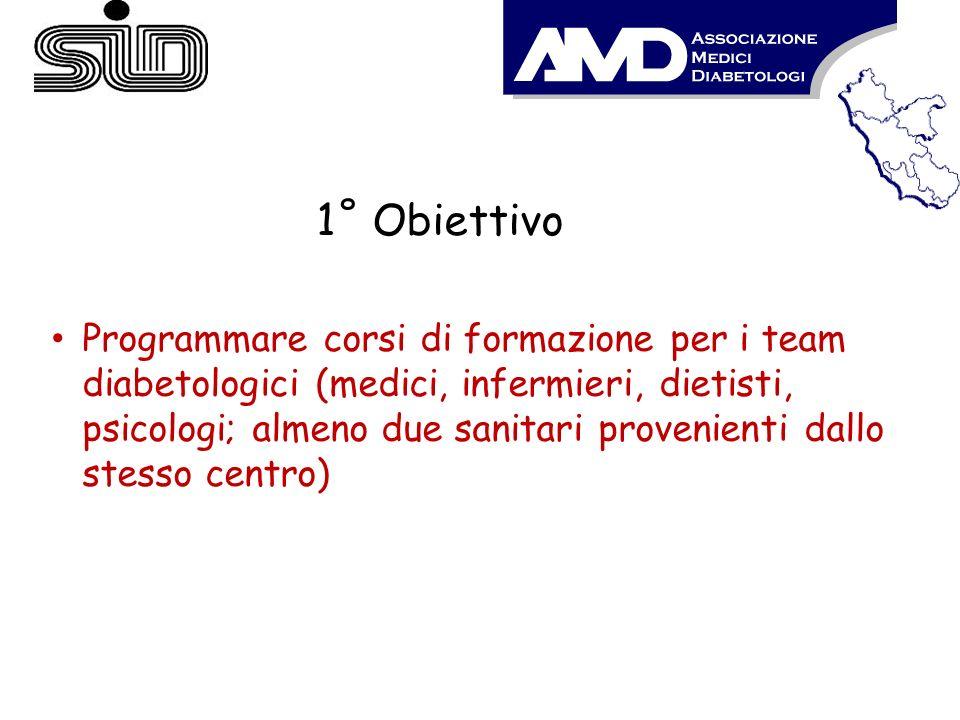 1˚ Obiettivo Programmare corsi di formazione per i team diabetologici (medici, infermieri, dietisti, psicologi; almeno due sanitari provenienti dallo
