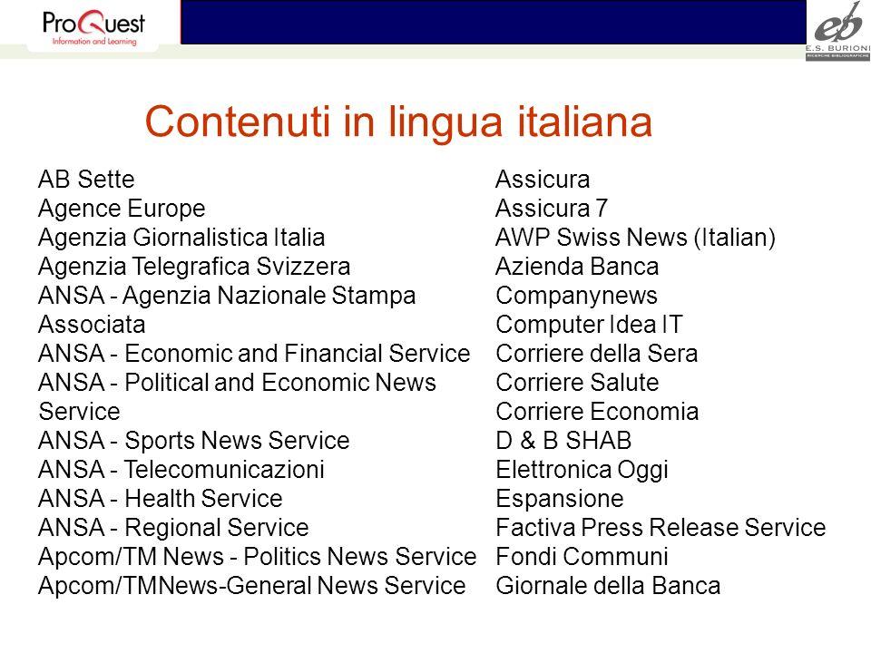 Contenuti in lingua italiana AB Sette Agence Europe Agenzia Giornalistica Italia Agenzia Telegrafica Svizzera ANSA - Agenzia Nazionale Stampa Associat
