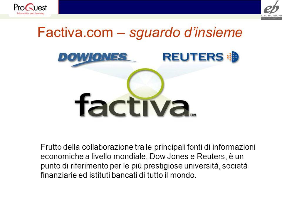Factiva.com – sguardo dinsieme Frutto della collaborazione tra le principali fonti di informazioni economiche a livello mondiale, Dow Jones e Reuters,