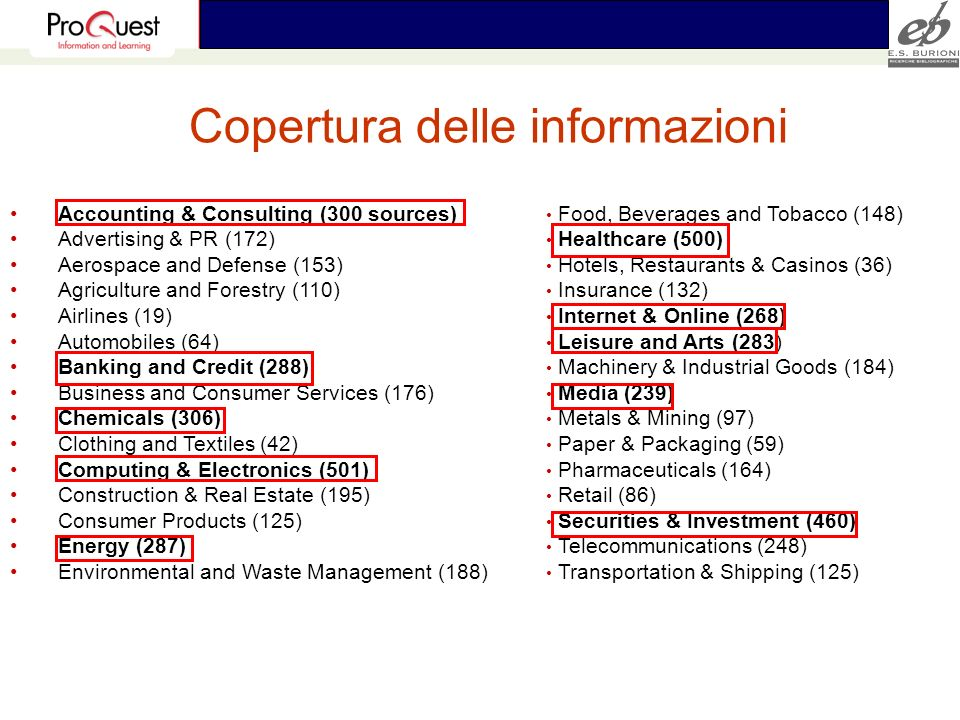 Copertura delle informazioni Accounting & Consulting (300 sources) Advertising & PR (172) Aerospace and Defense (153) Agriculture and Forestry (110) A