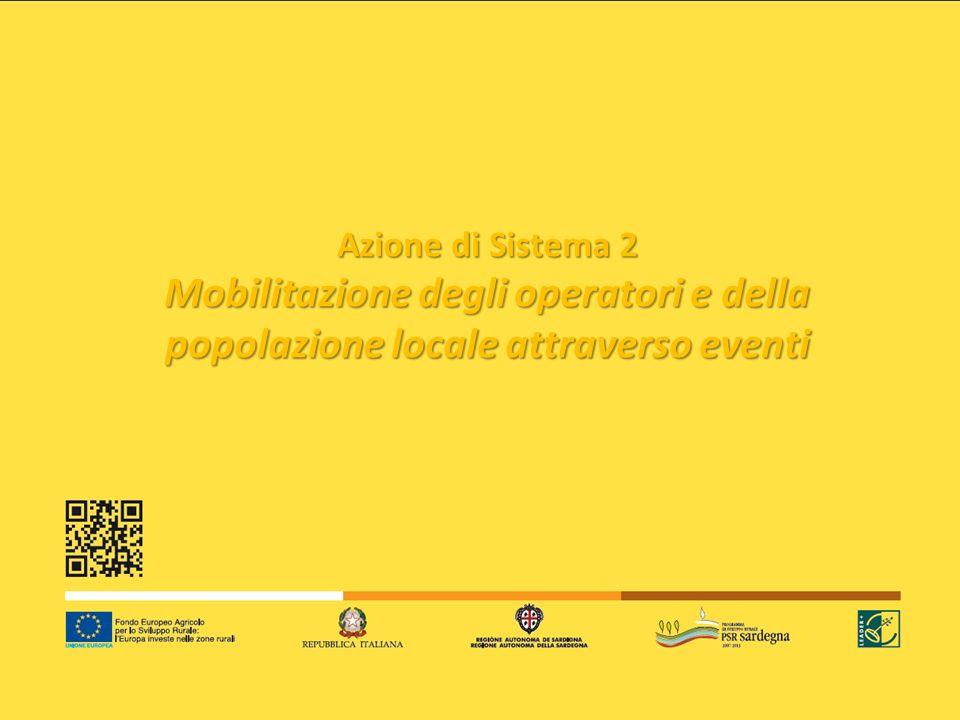 Azione di Sistema 2 Mobilitazione degli operatori e della popolazione locale attraverso eventi