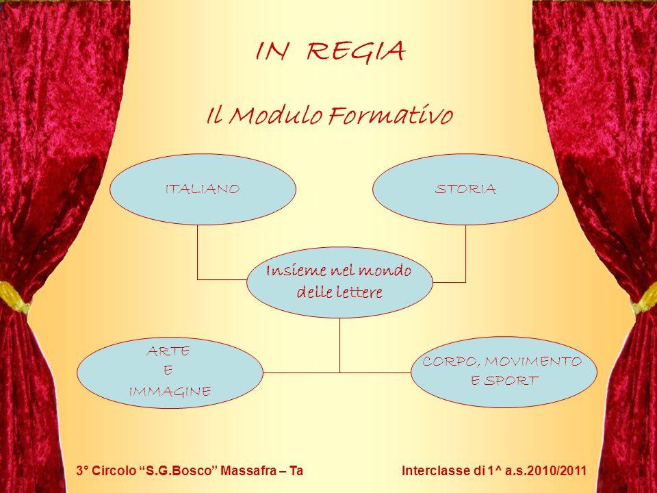 3° Circolo S.G.Bosco Massafra – Ta Interclasse di 1^ a.s.2010/2011 IN REGIA Il Modulo Formativo Insieme nel mondo delle lettere ITALIANOSTORIA CORPO,