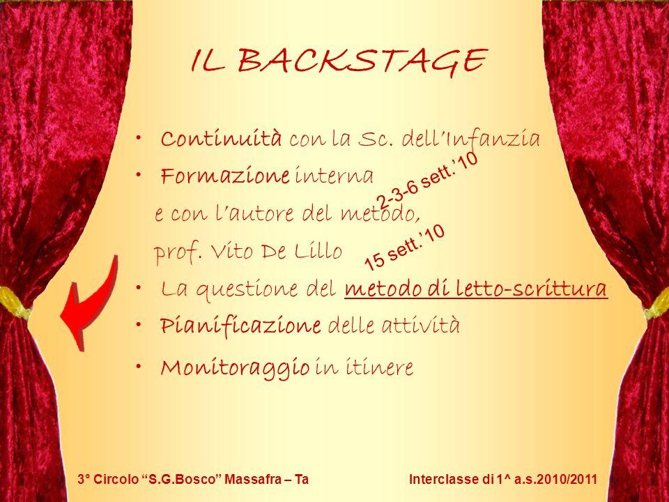 3° Circolo S.G.Bosco Massafra – Ta Interclasse di 1^ a.s.2010/2011 IL BACKSTAGE Continuità con la Sc. dellInfanzia Formazione interna e con lautore de