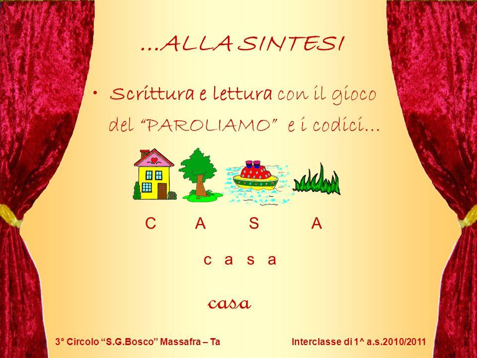 3° Circolo S.G.Bosco Massafra – Ta Interclasse di 1^ a.s.2010/2011 …ALLA SINTESI Scrittura e lettura con il gioco del PAROLIAMO e i codici… c a s a C