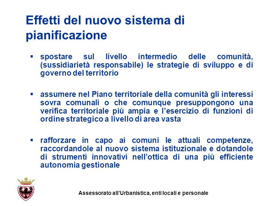 Effetti del nuovo sistema di pianificazione spostare sul livello intermedio delle comunità, (sussidiarietà responsabile) le strategie di sviluppo e di