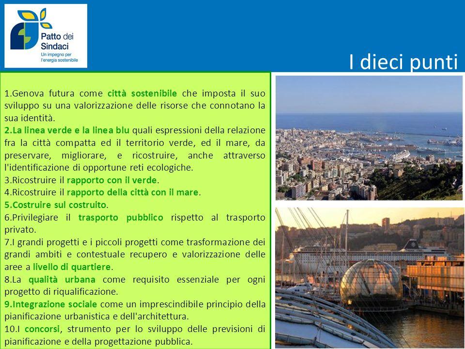 1.Genova futura come città sostenibile che imposta il suo sviluppo su una valorizzazione delle risorse che connotano la sua identità. 2.La linea verde