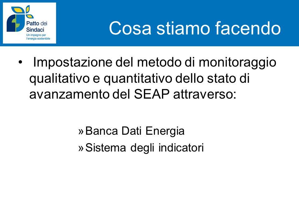 Cosa stiamo facendo Impostazione del metodo di monitoraggio qualitativo e quantitativo dello stato di avanzamento del SEAP attraverso: »Banca Dati Ene