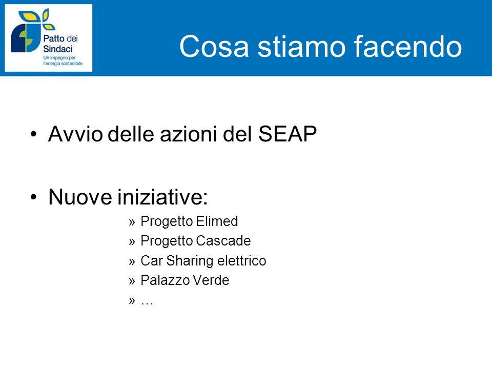 Cosa stiamo facendo Avvio delle azioni del SEAP Nuove iniziative: »Progetto Elimed »Progetto Cascade »Car Sharing elettrico »Palazzo Verde »…