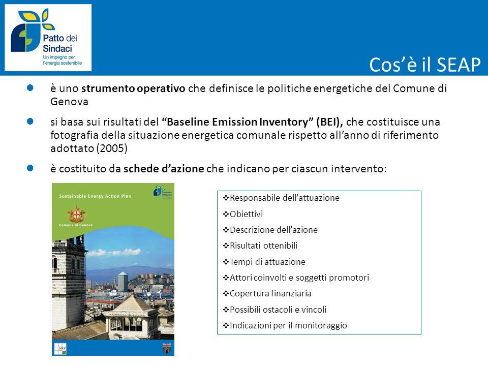 Flotta municipale PUM – Piano Urbano della Mobilità (Gennaio 2010) AZIONI DI RILIEVO Razionalizzazione (TRA-S10) e svecchiamento della flotta (TRA-S11) Potenziamento del sistema ferroviario metropolitano (TRA-L09) Assi protetti (TRA-S01 e TRA-L01) Politica di tariffazione ed estensione Blu Area (TRA-S02 e TRA-L02) Isole ambientali (TRA-S05 e TRA-05) Interventi infrastrutturali (TRA-S04 e TRA-L04) Soft mobility – Ciclabilità (TRA-L14) Rete metropolitana wireless (TRA-L15) Trasporto privato e commerciale Trasporto pubblico Miglioramento ecologico della flotta Innovazione del sistema di trasporto di superficie Promozione della mobilità dolce Obiettivi principali Altro Riduzione complessiva del settore rispetto al totale delle emissioni del Comune di Genova Trasporti 5,0 %
