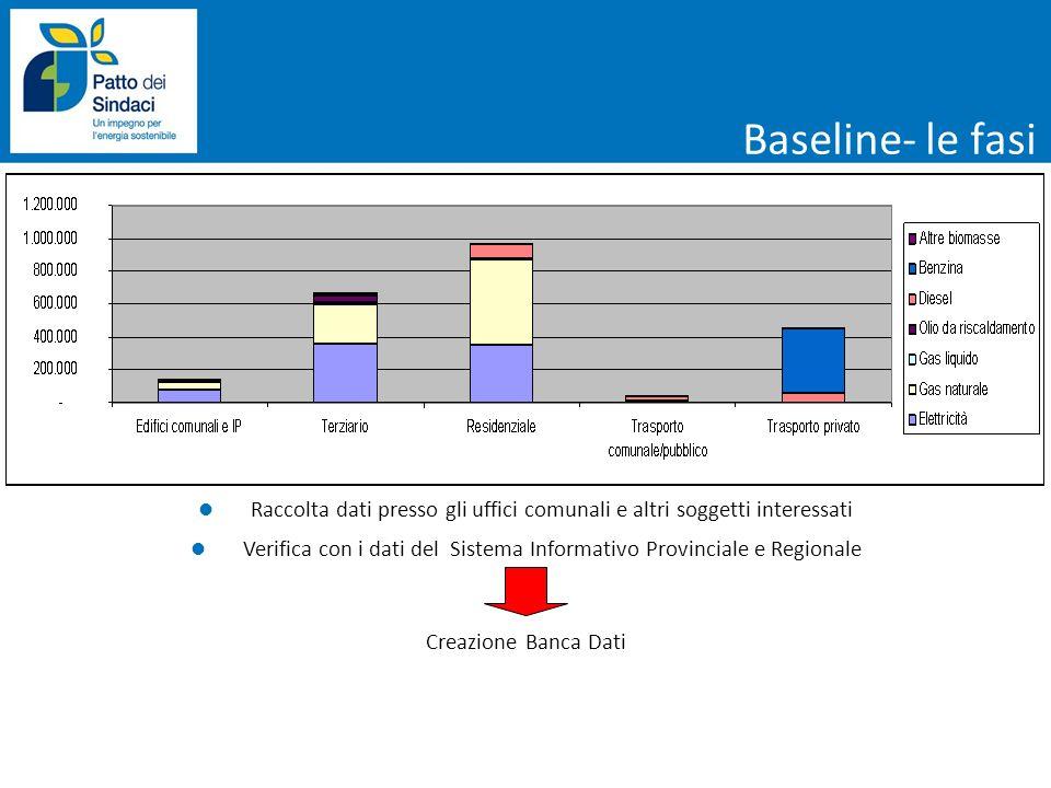 Baseline- le fasi Raccolta dati presso gli uffici comunali e altri soggetti interessati Verifica con i dati del Sistema Informativo Provinciale e Regi
