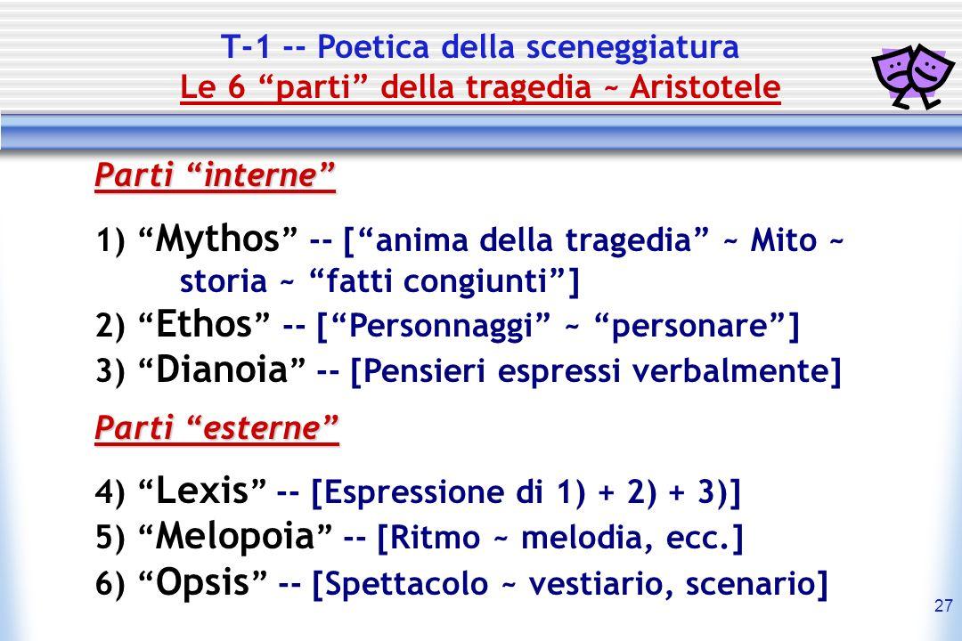 27 T-1 -- Poetica della sceneggiatura Le 6 parti della tragedia ~ Aristotele Parti interne 1) Mythos -- [anima della tragedia ~ Mito ~ storia ~ fatti