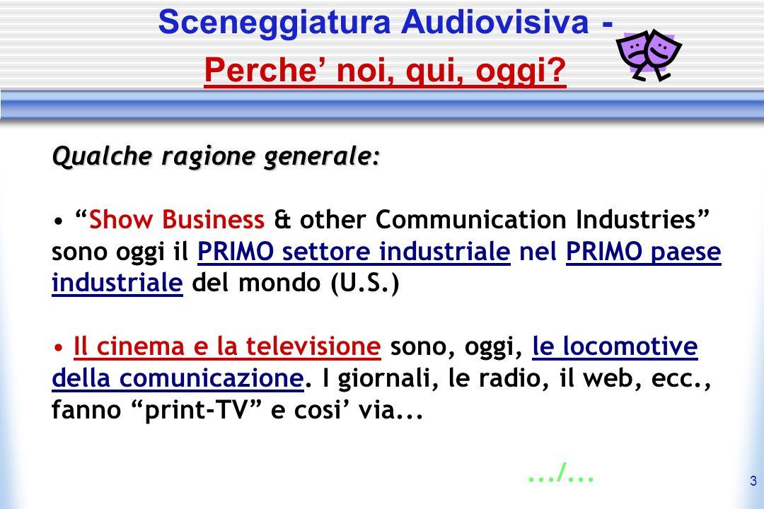 3 Sceneggiatura Audiovisiva - Perche noi, qui, oggi? Qualche ragione generale: Show Business & other Communication Industries sono oggi il PRIMO setto