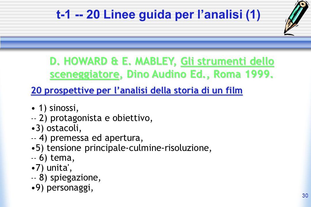 30 t-1 -- 20 Linee guida per lanalisi (1) D. HOWARD & E. MABLEY, Gli strumenti dello sceneggiatore, sceneggiatore, Dino Audino Ed., Roma 1999. 20 pros