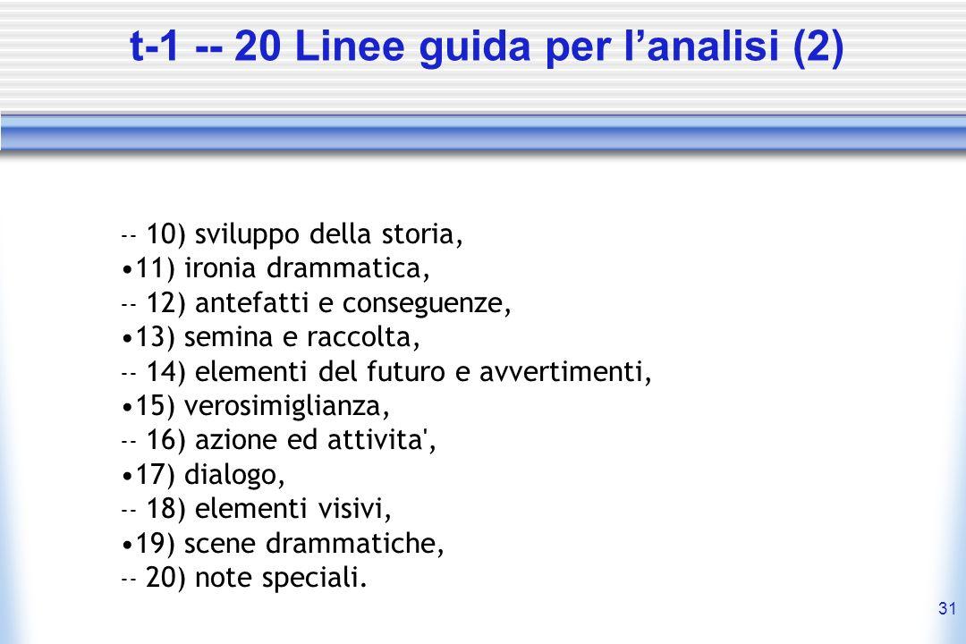 31 t-1 -- 20 Linee guida per lanalisi (2) -- 10) sviluppo della storia, 11) ironia drammatica, -- 12) antefatti e conseguenze, 13) semina e raccolta,