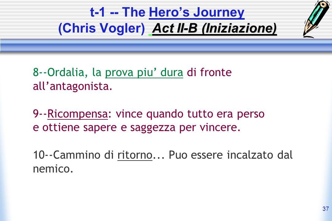 37 Act II-B (Iniziazione) t-1 -- The Heros Journey (Chris Vogler) Act II-B (Iniziazione) 8--Ordalia, la prova piu dura di fronte allantagonista. 9--Ri