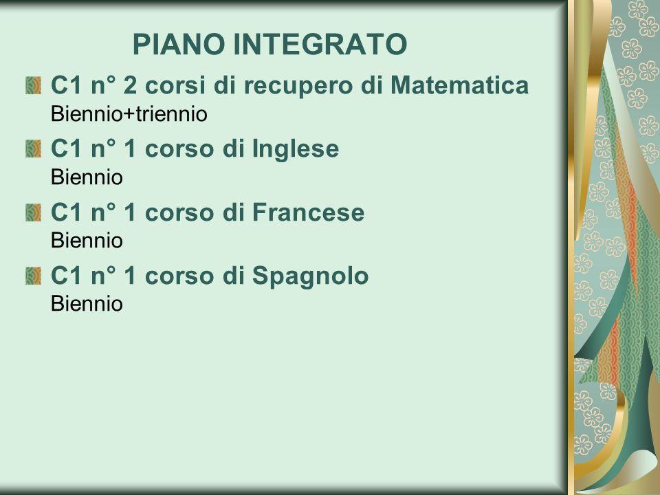PIANO INTEGRATO C1 n° 2 corsi di recupero di Matematica Biennio+triennio C1 n° 1 corso di Inglese Biennio C1 n° 1 corso di Francese Biennio C1 n° 1 co