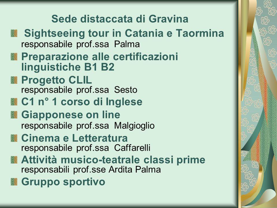 Sede distaccata di Gravina Sightseeing tour in Catania e Taormina responsabile prof.ssa Palma Preparazione alle certificazioni linguistiche B1 B2 Prog