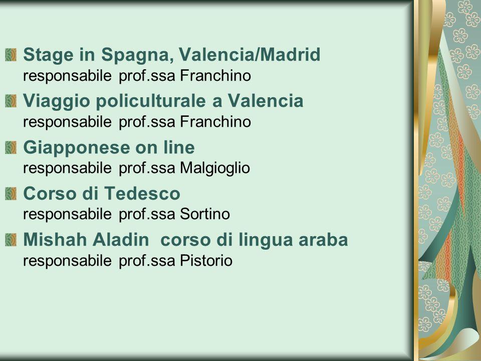Stage in Spagna, Valencia/Madrid responsabile prof.ssa Franchino Viaggio policulturale a Valencia responsabile prof.ssa Franchino Giapponese on line r