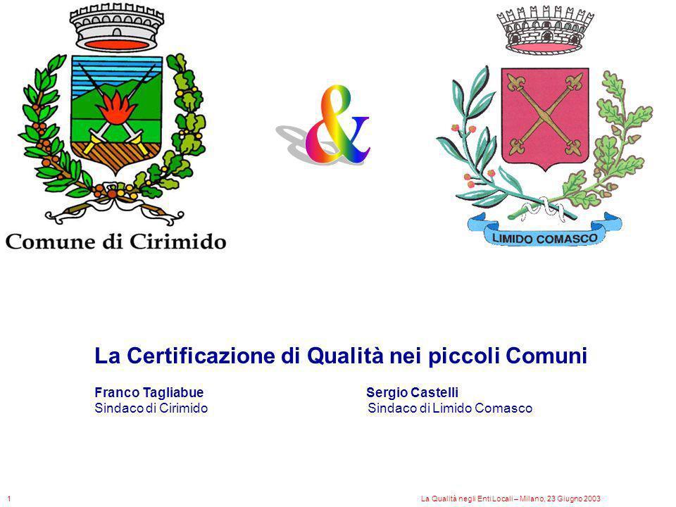 La Certificazione di Qualità nei piccoli Comuni Franco Tagliabue Sergio Castelli Sindaco di Cirimido Sindaco di Limido Comasco La Qualità negli Enti L