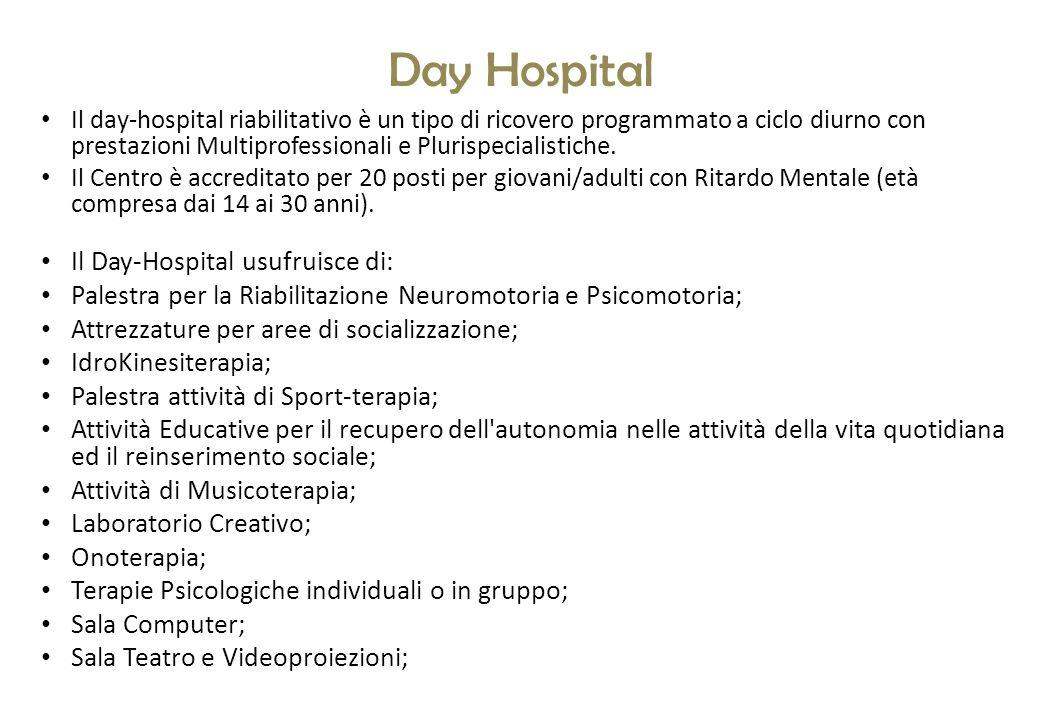 Day Hospital Il day-hospital riabilitativo è un tipo di ricovero programmato a ciclo diurno con prestazioni Multiprofessionali e Plurispecialistiche.