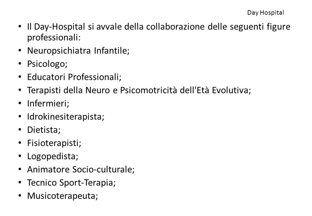 Day Hospital Il Day-Hospital si avvale della collaborazione delle seguenti figure professionali: Neuropsichiatra Infantile; Psicologo; Educatori Profe