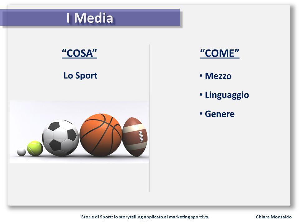 Storie di Sport: lo storytelling applicato al marketing sportivo. Chiara Montaldo I Media COSA Mezzo Linguaggio Genere COME Lo Sport