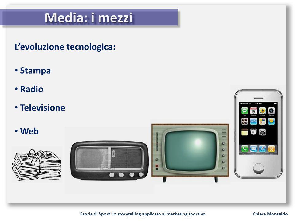 Storie di Sport: lo storytelling applicato al marketing sportivo. Chiara Montaldo Media: i mezzi Levoluzione tecnologica: Stampa Radio Televisione Web